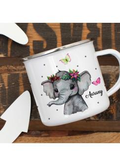Emaillebecher Becher Tasse Camping Elefant indisch Schmetterlinge & Wunschname Name Kaffeetasse Geschenk eb396