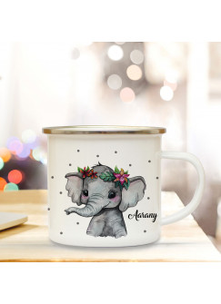 Emaillebecher Becher Tasse Camping Elefant indisch & Wunschname Name Kaffeetasse Geschenk eb397
