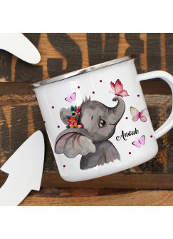 Emaillebecher Becher Tasse Camping Elefant Kopf Schmetterlinge & Wunschname Name Kaffeetasse Geschenk eb398