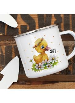 Emaillebecher Becher Tasse Camping Ente Entchen Blumen & Wunschname Name Kaffeetasse Geschenk eb399