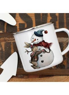 Emaille Tasse Becher mit Schneemann und Hase Häschen Winter Kaffeebecher Freundschaft eb04