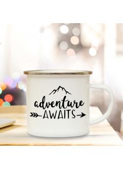 Emaille Tasse Becher mit Bergen & Spruch adventure awaits Kaffeebecher Camping Becher mit Zitat Motto eb40