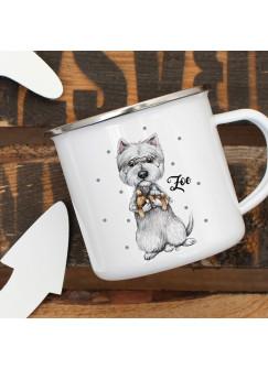 Emaillebecher Becher Tasse Camping Cesar Hund Hündchen & Wunschname Name Kaffeetasse Geschenk eb400