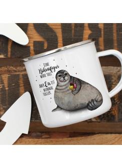 Emaille Becher Camping Tasse Seehund Robbe mit Eis Spruch Bikinifigur wäre toll... Kaffeetasse Geschenk Spruchbecher eb401