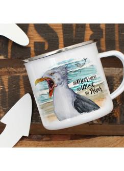 Emaille Becher Camping Tasse Möwe Vogel Spruch Am Meer macht der Wind die Frisur Kaffeetasse Geschenk Spruchbecher eb403