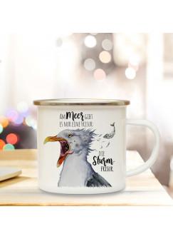 Emaille Becher Camping Tasse Seemöwe Möwe Vogel Spruch Die Sturmfrisur Kaffeetasse Geschenk Spruchbecher eb404