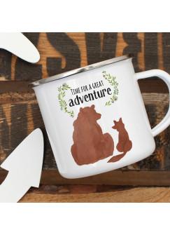 Emaille Becher Camping Tasse Bär und Fuchs Spruch Time for a great Adventure Kaffeetasse Geschenk Spruchbecher eb409