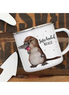 Emaillebecher Becher Tasse Camping Schnabeltier mit Eis & Süßschnabel Name Wunschname Kaffeetasse Geschenk eb411