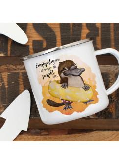 Emaille Becher Camping Tasse Schnabeltier mit Schwimmring Spruch Einzigartig perfekt Kaffeetasse Geschenk Spruchbecher eb412
