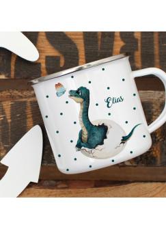 Emaille Becher Camping Tasse Dino aus dem Ei mit Schmetterling & Name Wunschname Kaffeetasse Geschenk eb413