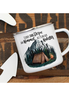 Emaille Becher Camping Tasse Zelt campen Wildnis Wald Berge & Spruch Lieber 1000 Sterne am Himmel...  Kaffeetasse Geschenk eb415
