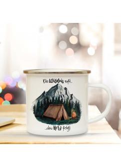 Emaille Becher Camping Tasse Zelt campen Wald Berge & Spruch Die Wildnis ruft das Herz folgt Kaffeetasse Geschenk eb416