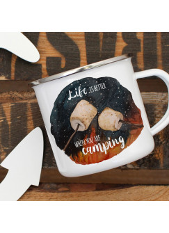 Emaille Becher Camping Tasse Marshmallows & Spruch Life is better when you are camping Kaffeetasse Geschenk eb417