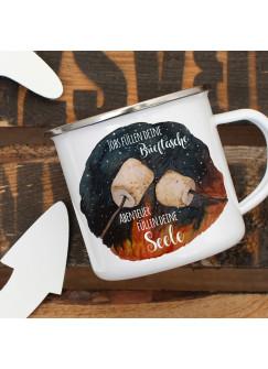 Emaille Becher Camping Tasse Marshmallows & Spruch Jobs füllen Brieftasche Abenteuer deine Seele Kaffeetasse Geschenk eb418