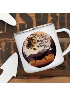 Emaille Becher Camping Tasse campen am See Hängematte & Spruch Perspektive wechseln um Himmel sehen Kaffeetasse Geschenk eb419