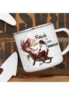 Emaille Becher Camping Tasse kleiner Drache im Liegestuhl & Spruch Fleisch ist mein Gemüse Kaffeetasse Geschenk eb420