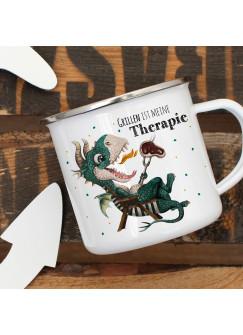 Emaille Becher Camping Tasse kleiner Drache im Liegestuhl & Spruch Grillen ist meine Therapie Kaffeetasse Geschenk eb421