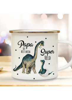 Emaille Becher Camping Tasse Dino Dinopapa Papa mit Junges & Spruch Papa du bist mein Superheld Kaffeetasse Geschenk eb430
