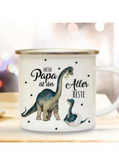 Emaille Becher Camping Tasse Dino Dinopapa Papa mit Junges & Spruch Mein Papa ist der Allerbeste Kaffeetasse Geschenk eb431