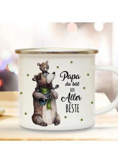 Emaille Becher Camping Tasse Bär Bärenpapa Papa mit Junges & Spruch Papa du bist der Allerbeste Kaffeetasse Geschenk eb432