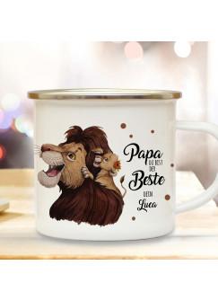 Emaille Becher Camping Tasse Löwe Löwenpapa Papa mit Junges & Spruch Papa du bist der Beste Dein Name Wunschname Kaffeetasse Geschenk eb434