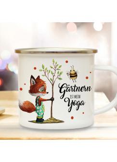 Emaille Becher Camping Tasse Fuchs mit Hummel & Spruch Gärtnern ist mein Yoga Kaffeetasse Geschenk eb435