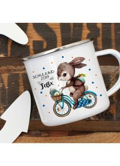 Emaille Becher Einschulung Camping Tasse Hase auf Fahrrad Spruch Schulkind 2019 & Name Wunschname Kaffeetasse Geschenk eb438