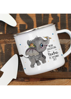 Emaille Becher Einschulung Camping Tasse Elefant mit Stift Spruch Schulkind 2019 & Name Wunschname Wunschdatum Kaffeetasse Geschenk eb439