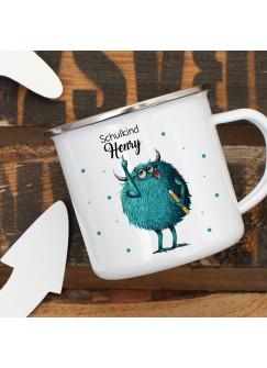 Emaille Becher Einschulung Camping Tasse Monster mit Stift Spruch Schulkind 2019 & Name Wunschname Kaffeetasse Geschenk eb440