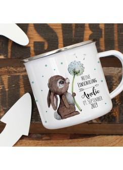 Emaille Becher Einschulung Camping Tasse Hase mit Pusteblume Spruch Schulkind 2019 & Name Wunschname Wunschdatum Kaffeetasse Geschenk eb441