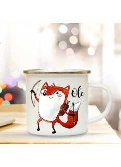 Emaille Tasse Becher mit Indianer Fuchs Kaffeebecher personalisierter Camping Becher mit Name Wunschname eb45