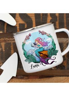 Emaille Becher Camping Tasse Meerjungfrau auf Muschel & Name Wunschname Kaffeetasse Geschenk eb450