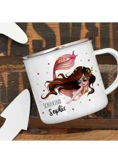 Emaille Tasse zur Einschulung Camping Becher brünette Meerjungfrau Spruch Schulkind & Name Wunschname Kaffeetasse Geschenk eb454