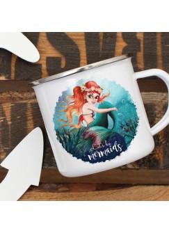 Emaille Becher Camping Tasse Meerjungfrau Spruch Let´s be mermaids Kaffeetasse Geschenk Spruchbecher eb455