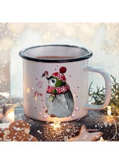 Emaille Becher Camping Tasse Winter Pinguin & Name Wunschname Kaffeetasse Weihnachten Geschenk Weihnachtsmotiv eb470