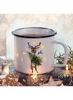 Emaille Becher Camping Tasse Winter Hirsch Baum & Name Wunschname Kaffeetasse Weihnachten Geschenk Weihnachtsmotiv eb471
