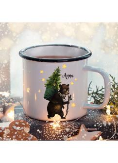 Emaille Becher Camping Tasse Winter Bär Tannenbaum & Name Wunschname Kaffeetasse Weihnachten Geschenk eb472