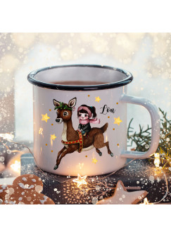 Emaille Becher Camping Tasse Winter Mädchen Reh & Name Wunschname Kaffeetasse Weihnachten Geschenk Weihnachtsmotiv eb473
