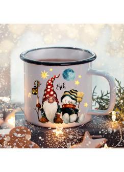 Emaille Becher Camping Tasse Winter Zwerg Schneenmann & Name Wunschname Kaffeetasse Weihnachten Geschenk Weihnachtsmotiv eb474