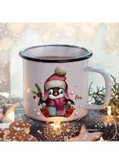 Emaille Becher Camping Tasse Winter Pinguin & Name Wunschname Kaffeetasse Weihnachten Geschenk Weihnachtsmotiv eb475