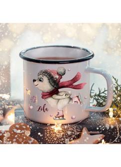 Emaille Becher Camping Tasse Winter Eisbär & Name Wunschname Kaffeetasse Weihnachten Geschenk Weihnachtsmotiv eb476