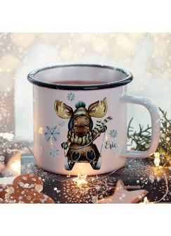 Emaille Becher Camping Tasse Winter Elch Schlitten & Name Wunschname Kaffeetasse Weihnachten Geschenk Weihnachtsmotiv eb477