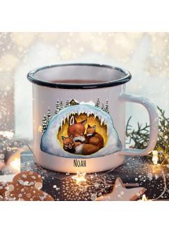 Emaille Becher Camping Tasse Winter Fuchs Füchse Fuchshöhle & Name Wunschname Kaffeetasse Weihnachten Geschenk Weihnachtsmotiv eb478