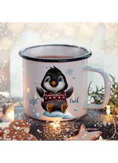 Emaille Becher Camping Tasse Winter Pinguin Schneeflocken & Name Wunschname Kaffeetasse Weihnachten Geschenk Weihnachtsmotiv eb479
