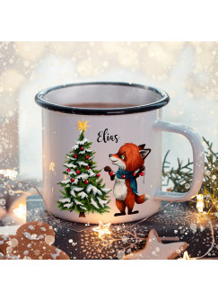 Emaille Becher Camping Tasse Winter Fuchs Weihnachtsbaum & Name Wunschname Kaffeetasse Weihnachten Geschenk Weihnachtsmotiv eb480
