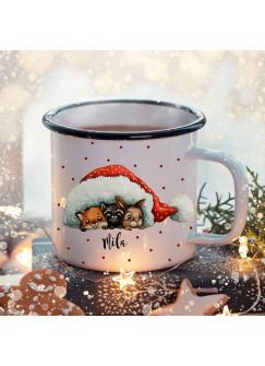 Emaille Becher Camping Tasse Winter Tiere unter Mütze & Name Wunschname Kaffeetasse Weihnachten Geschenk Weihnachtsmotiv eb481