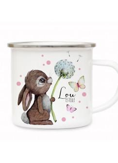 Emaille Becher Camping Tasse Motiv Hase Häschen Pusteblume Schmetterlinge rosa Punkte & Wunschname Name Kaffeetasse Geschenk eb490