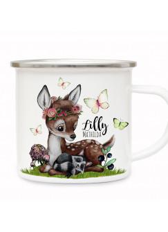 Emaille Becher Camping Tasse Motiv Reh Waschenbär Blaubeeren Schmetterlinge & Wunschname Name Kaffeetasse Geschenk eb491
