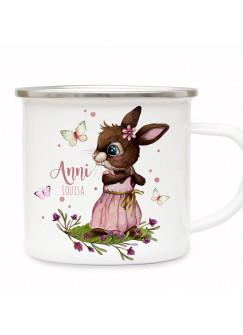 Emaille Becher Camping Tasse Motiv Hase Häschen rosa Schmetterlinge & Wunschname Name Kaffeetasse Geschenk eb492
