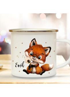 Emaille Becher Camping Tasse Motiv Fuchs Füchschen Pusteblume Punkte & Wunschname Name Kaffeetasse Geschenk eb493